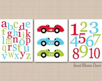 Cars Nursery Wall Art,Race Cars kids Wall Art,Cars Playroom Wall Art,Cars Baby Gift,Race Cars Wall Art,Transportation Alphabet-UNFRAMED C353