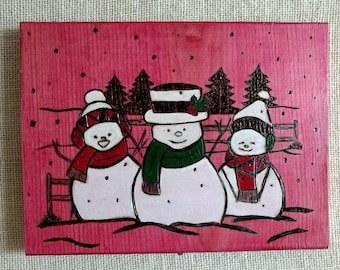 Three Little Snowmen Woodburning Plaque Snowman Holiday Decor Sign Christmas Sign Holiday Pyrography Sign Red and White Snowman Sign