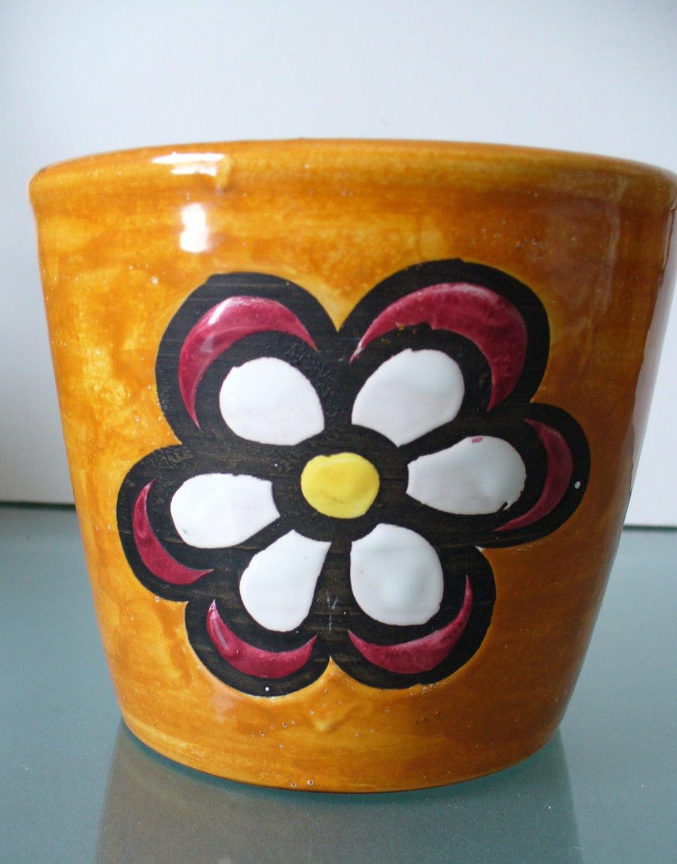 Made In Italy Mod Flower Power Ceramic Flower Pot