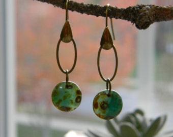 Bohemian earrings dangle earrings earthy green czech glass beaded earrings simple natural earrings beaded jewelry boho gypsy jewelry hippie