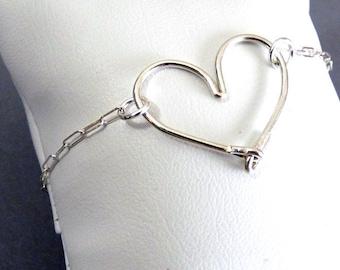 Single Sterling Silver Heart Bracelet - adjustable length