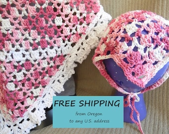 Shawl & Kerchief, Tie On Bonnet, USA Grown Cotton, Pink Ruffles