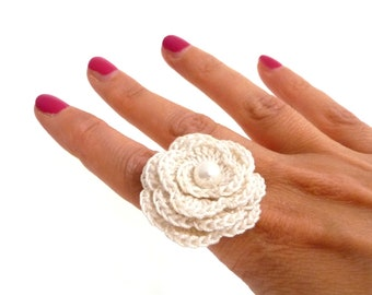 White Crochet Flower Ring - Cotton Rose, Adjustable, Statement, Boho, Romantic Ring - Bridesmaid, Mothers Day, Anniversary, Valentines Gift