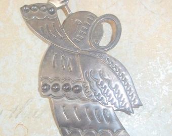 Sterling Silver Angel Blowing Horn Brooch