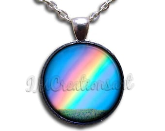 Rainbow Glass Dome Pendant or with Chain Link Necklace SM152