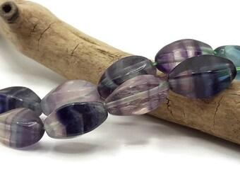 10 pearls natural Fluorite - 16 mm x 8 mm - gemstone - natural Fluorite twist - A266