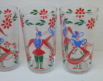 Vintage Barware Drink Glasses Tumblers Swanky Swigs with Dancing Couple Set of 6 / Scandanavian Man and Woman Dancing Red Blue and Green