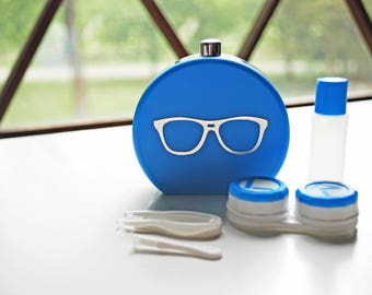 Blue Contact Lens Case and Travel Kit: Silver Foiled Eye Glasses Design