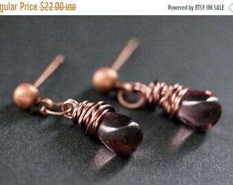 SUMMER SALE COPPER Earrings - Purple Teardrop Earrings. Stud Earrings. Dangle Earrings. Post Earrings. Handmade Jewelry.