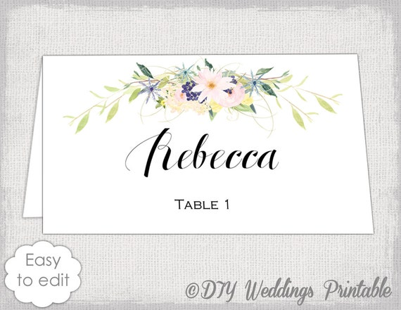 Place Card Template Eden Name Cards DIY Flower - Card template free: avery place card template
