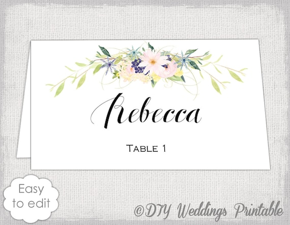 Place Card Template Eden Name Cards DIY Flower - Card template free: escort card template