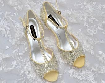 Swarovski crystal clear silver Pastel Lemon Yellow dyed T-Bar Strap Peeptoe low heel ankle strap sandal