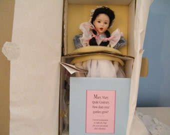 ON SALE  Mary Contrary by Franklin Heirloom, Vintage porcelain doll by artist Helen Kisch, the Queen of Scots in Nursery Rhyme,Original Box