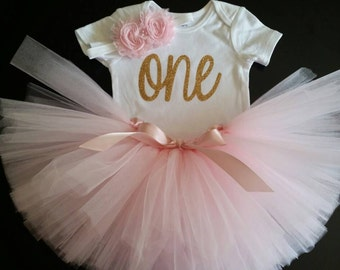 Someone is ONE! Soft Pink & Gold Onesie, Tutu and Headband Set!
