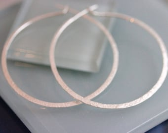 """Large Silver Hoop Earrings 2 1/2"""" Hammered Tree Bark Natural Texture Solid Sterling Silver Eco Frinedly  Recycled"""