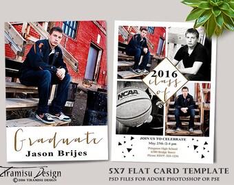 INSTANT DOWNLOAD Senior Card Adobe Photoshop Template, sku gr 16-4