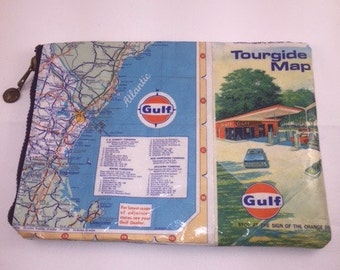 Vintage Gloucester MA/Maine Mapsack Zippered Pouch