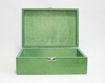 Green Wooden Box / Green Storage Box / Gift Box / Keepsake Box / Green Storage Box 8.46 x 5.70 x 2.95 inch