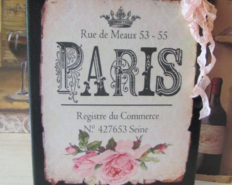 French Provincial Sign, French Country Decor, Vintage Shabby Chic, Pink Roses, Romantic French Bedroom Decor, Wall Art, Paris Bedroom Decor