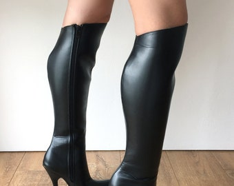 RTBU Ace Hard Shaft Knee Boots 12cm Stiletto Vegan Personalized Shaft Black Matte