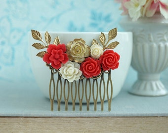Wedding Hair Comb, Red Bridal Comb, Red Comb Ivory Red Comb Red Wedding Ivory Gold Rose Floral Leaf Hair Piece Rustic Red Bridesmaids Gift
