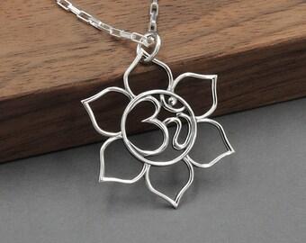 Silver Necklace - Om Necklace, om jewelry, statement necklace, lotus, yoga, boho jewelry, meditation, yoga jewelry