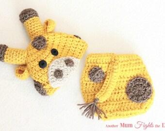 Crochet Giraffe Hat and Diaper Cover, Baby Giraffe Hat, Newborn Photo Prop, Christmas gift for baby, Baby Shower Gift