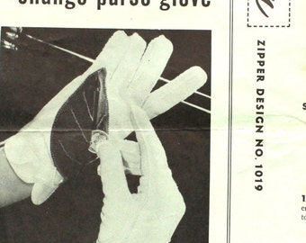 1950's Change Purse Glove Sewing Pattern by Talon 1019
