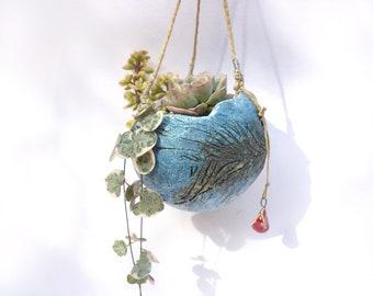 Suspension plante, bleue, poterie plante grasse,succulente,petite boule ,grès blanc, décoration de jardin intérieur,hanging plant