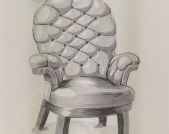 Ink Drawing Diamond Tufted Chair