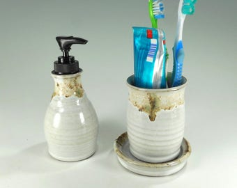 Pottery soap pump dispenser and toothbrush holder bathroom accessory set, ceramic soap pump, ceramic toothbrush holder, pottery lotion pump