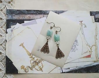 Beaded Fan Chandelier Earrings, Vintage Style Statement Earrings, Aqua Blue and Gold Toned Filigree Fan Dangle Earrings for Women