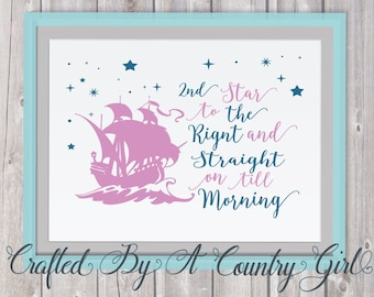 2nd Star to The Right and straight on till morning, svg, studio, peter pan, wendy, ship, whimsical, decal, cuttable, fairy tale svg