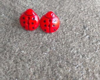 Lady - Post style Ladybug button earrings
