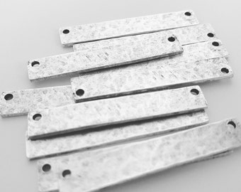 NEW***Hammered Flat Tag Long Narrow -Antique Silver