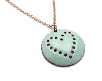 Turquoise Blue Heart Necklace - Round Copper Pendant - Enamel Jewelry - Love Gift for her