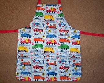 Children's apron, Trucks