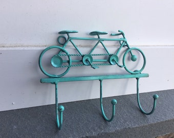 Bike Hook, Bike Hanger, Bike Wall Decor, Seaside Blue Bike, Metal Bike, Rustic Bike, Home and Garden Decor