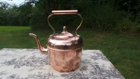 Copper Kettle French Made Arab Quarter Paris Bouloire Vintage Copper Pot Brass Copper Mounts Tinned Interior Fully Water Tight Minor Dents