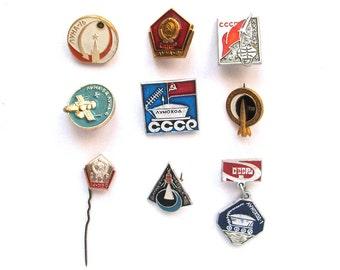 Moon, Set of 9 Soviet Space Badges, Luna, Vintage metal collectible badge, Spacecraft, 1959, Soviet Pin, Vintage Badge, Made in USSR, 1980s