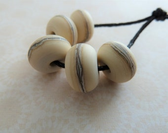 lampwork glass ivory tumbed beads, uk handmade etched set