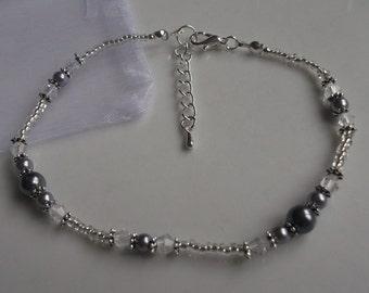 Grey pearl anklet, ankle bracelet, stretch anklet, beaded anklet, bridal anklet, silver anklet, bridal jewellery, beach anklet, prom anklet