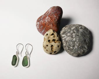 Recycled Sterling Silver and Seaham Seaglass Earrings