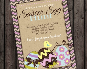 easter party invitation, easter egg hunt invitation, easter, easter egg invitation, easter invite, pink yellow, blues, digital fast, custom