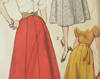 Vintage Simplicity 2469 Sewing Pattern,  Full Skirt Pattern, 1950s Skirt Pattern, Gored Skirt, Waist 32, 1950s Sewing Pattern, Plus Size