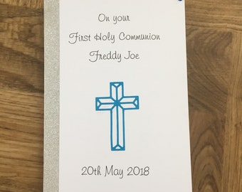 Fist holy communion card, communion card, congratulations
