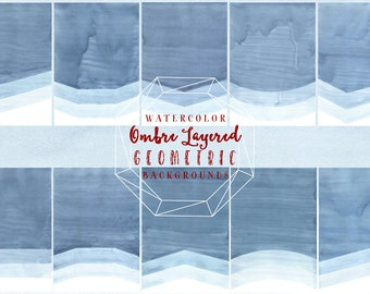 Blue Watercolor Geometric Ombre Digital Paper - Watercolor Backgrounds - DIY