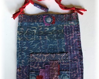 Primitive Handmade OOAK Boro Inspired Vintage Indian Kantha Quilt Bucket Bag Pouch with Pockets, Magnetic Closure, Hand Dyed Fabrics!