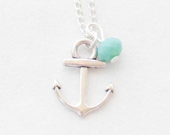 Little Anchor Necklace, Anchor Pendant Necklace, Silver Anchor Necklace, Anchor charm Necklace, Gemstone Necklace, Navy Necklace