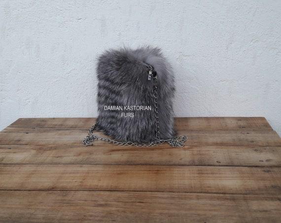 HANdMADE ReAL GRAY FROST fOX fUR PuRSE SHOULdER & EVENING bAG, Womens Bag, Fox Fur Handbag, Shoulder Bag Women, Tote Bag, Gift For Her.